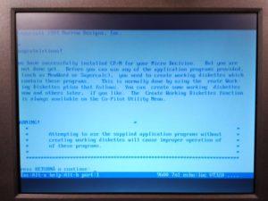 Salida de terminal, inicio de sistema CP/M 2.2